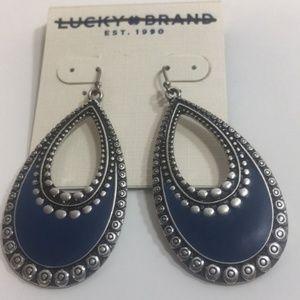 Lucky brand blue Silvertone earrings new